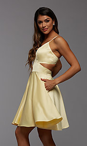 Image of cute short simple homecoming dress by PromGirl. Style: PG-THC-21-54 Detail Image 2