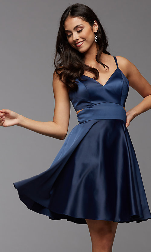 Image of cute short simple homecoming dress by PromGirl. Style: PG-THC-21-54 Detail Image 3