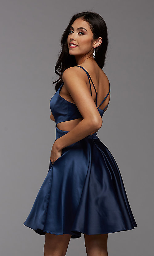 Image of cute short simple homecoming dress by PromGirl. Style: PG-THC-21-54 Detail Image 4