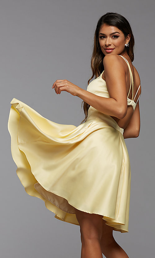 Image of cute short simple homecoming dress by PromGirl. Style: PG-THC-21-54 Front Image