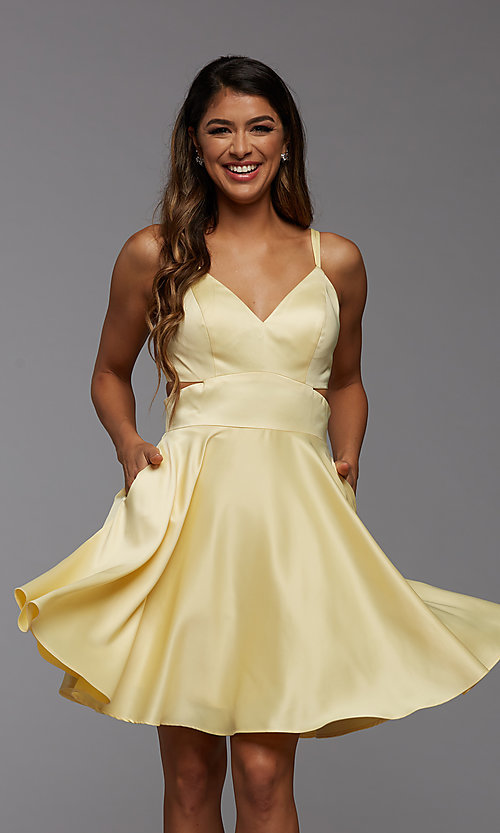 Image of cute short simple homecoming dress by PromGirl. Style: PG-THC-21-54 Back Image
