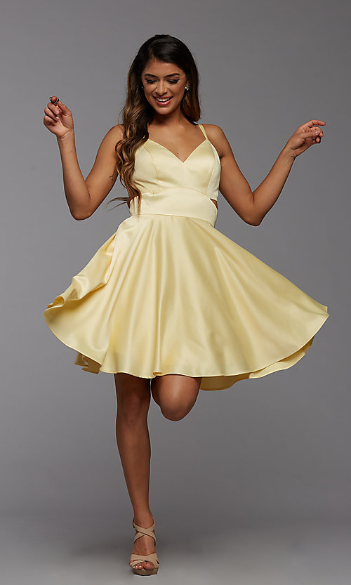Image of cute short simple homecoming dress by PromGirl. Style: PG-THC-21-54 Detail Image 1