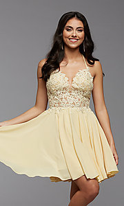 Image of strappy-back short sheer-bodice homecoming dress. Style: PG-FHC-21-16 Detail Image 2