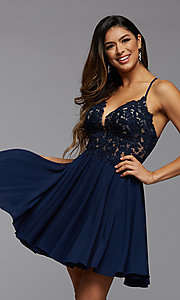 Image of strappy-back short sheer-bodice homecoming dress. Style: PG-FHC-21-16 Front Image