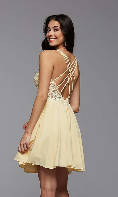 Image of strappy-back short sheer-bodice homecoming dress. Style: PG-FHC-21-16 Detail Image 3