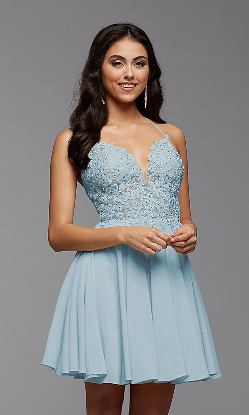 Image of strappy-back short sheer-bodice homecoming dress. Style: PG-FHC-21-16 Detail Image 4