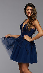 Image of babydoll short homecoming dress with beading. Style: PG-FHC-21-19 Detail Image 1