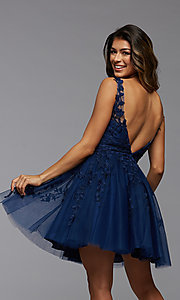 Image of babydoll short homecoming dress with beading. Style: PG-FHC-21-19 Detail Image 2