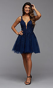 Image of babydoll short homecoming dress with beading. Style: PG-FHC-21-19 Detail Image 3