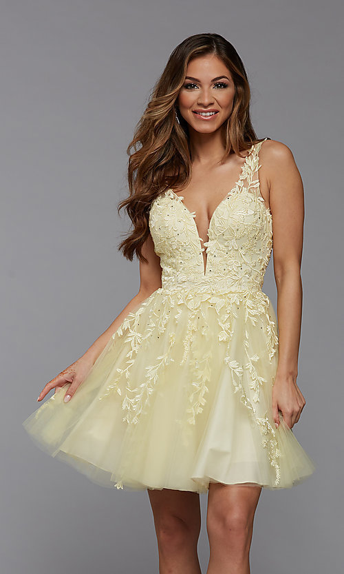 Image of babydoll short homecoming dress with beading. Style: PG-FHC-21-19 Front Image