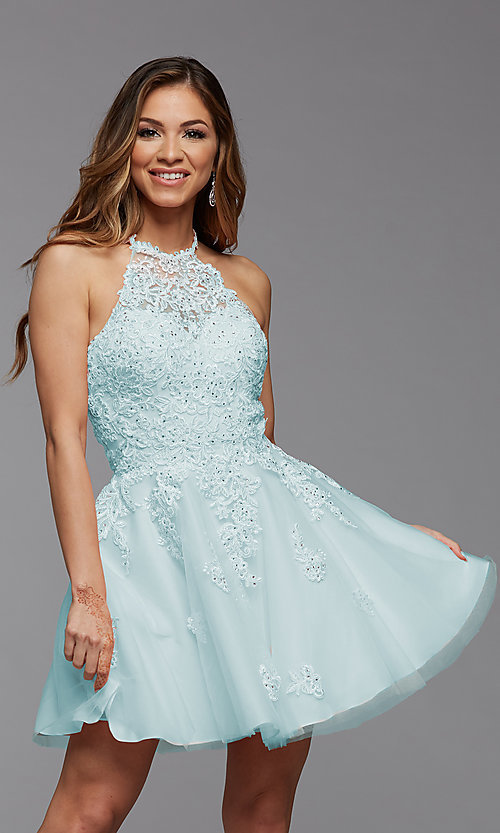 Image of halter short PromGirl homecoming dance dress. Style: PG-FHC-21-23 Front Image
