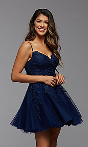 Image of sweetheart short babydoll homecoming dress. Style: PG-FHC-21-25 Detail Image 2