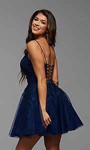 Image of sweetheart short babydoll homecoming dress. Style: PG-FHC-21-25 Detail Image 3