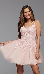 Image of sweetheart short babydoll homecoming dress. Style: PG-FHC-21-25 Detail Image 1