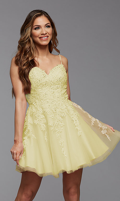 Image of sweetheart short babydoll homecoming dress. Style: PG-FHC-21-25 Detail Image 4