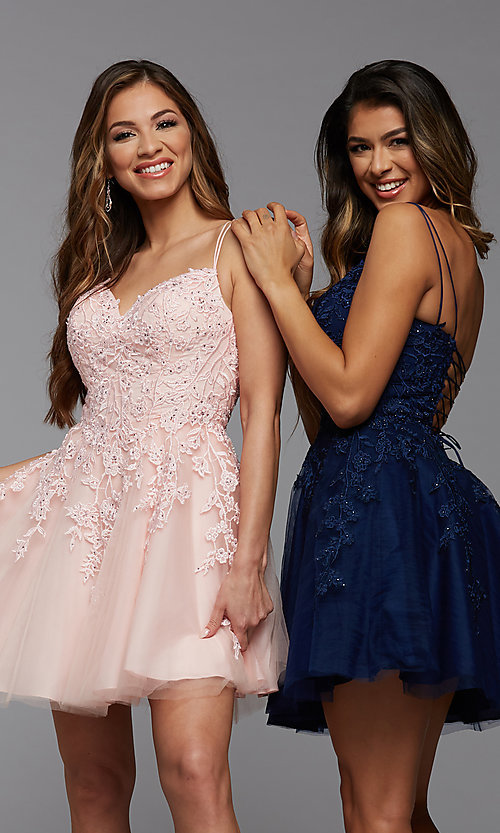 Image of sweetheart short babydoll homecoming dress. Style: PG-FHC-21-25 Front Image