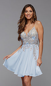 Image of short PromGirl homecoming dress with embroidery. Style: PG-FHC-21-38 Detail Image 4