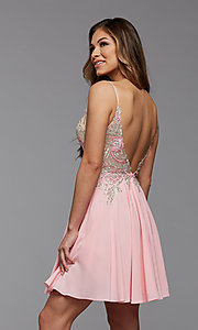 Image of short PromGirl homecoming dress with embroidery. Style: PG-FHC-21-38 Back Image