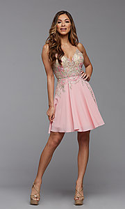 Image of short PromGirl homecoming dress with embroidery. Style: PG-FHC-21-38 Detail Image 1