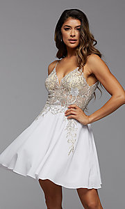 Image of short PromGirl homecoming dress with embroidery. Style: PG-FHC-21-38 Detail Image 2