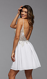 Image of short PromGirl homecoming dress with embroidery. Style: PG-FHC-21-38 Detail Image 3