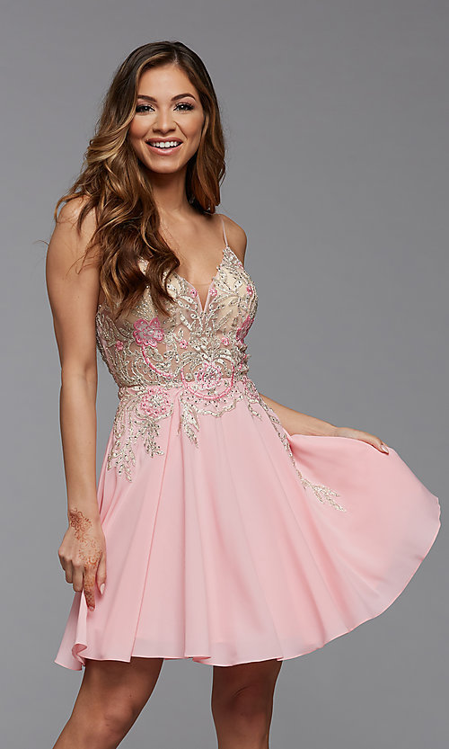 Image of short PromGirl homecoming dress with embroidery. Style: PG-FHC-21-38 Front Image