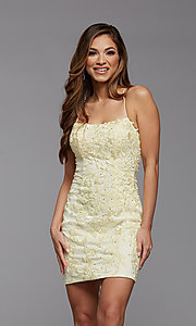 Image of embroidered-lace short fitted homecoming dress. Style: PG-FHC-21-41 Detail Image 5