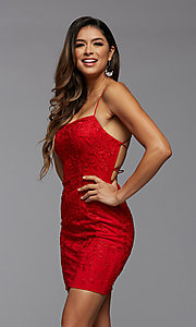 Image of embroidered-lace short fitted homecoming dress. Style: PG-FHC-21-41 Front Image
