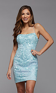 Image of embroidered-lace short fitted homecoming dress. Style: PG-FHC-21-41 Detail Image 3