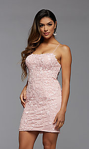 Image of embroidered-lace short fitted homecoming dress. Style: PG-FHC-21-41 Detail Image 1