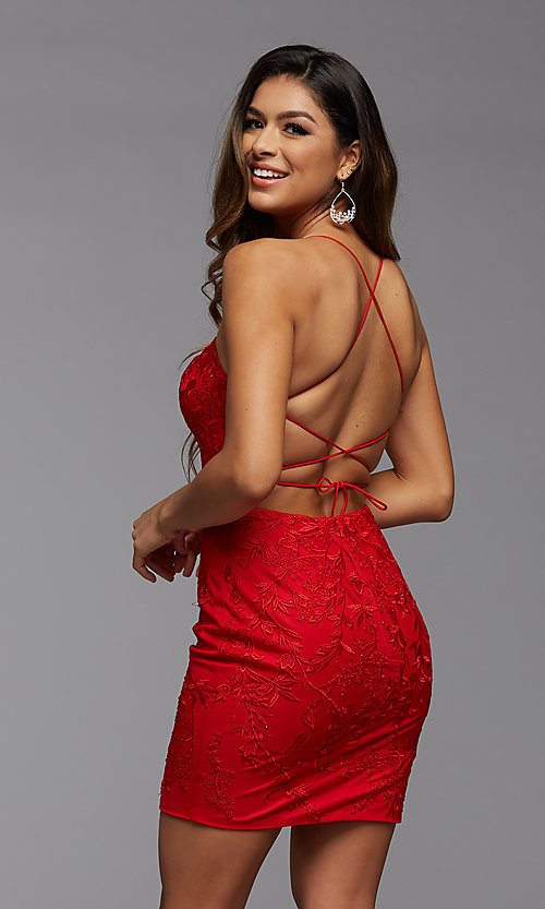 Image of embroidered-lace short fitted homecoming dress. Style: PG-FHC-21-41 Back Image
