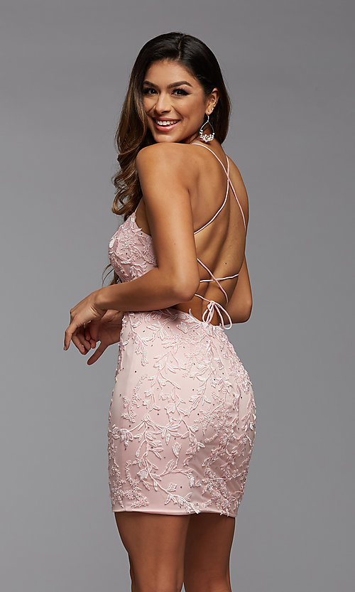 Image of embroidered-lace short fitted homecoming dress. Style: PG-FHC-21-41 Detail Image 2