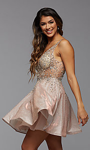 Image of beaded metallic PromGirl short homecoming dress. Style: PG-FHC-21-42 Front Image