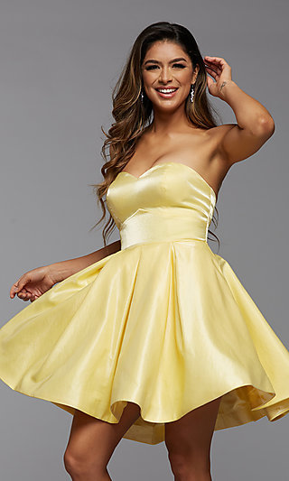 Short Simple Homecoming Dance Dress with Pockets
