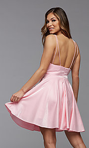 Image of short shimmer satin double strap homecoming dress. Style: PG-THC-21-11 Detail Image 2