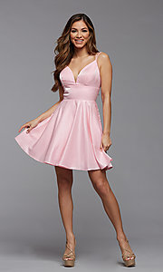 Image of short shimmer satin double strap homecoming dress. Style: PG-THC-21-11 Detail Image 3