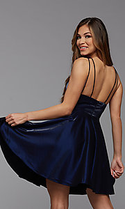 Image of short shimmer satin double strap homecoming dress. Style: PG-THC-21-11 Back Image