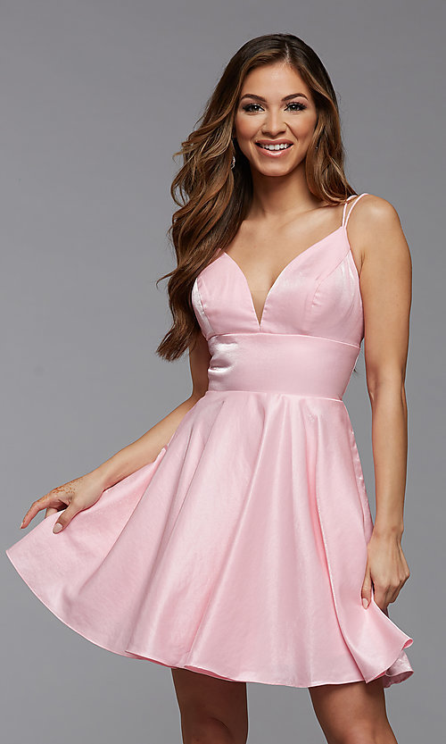 Image of short shimmer satin double strap homecoming dress. Style: PG-THC-21-11 Detail Image 1
