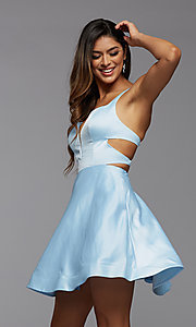 Image of strappy-back short satin homecoming dance dress. Style: PG-THC-21-19 Front Image