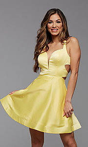 Image of strappy-back short satin homecoming dance dress. Style: PG-THC-21-19 Detail Image 1