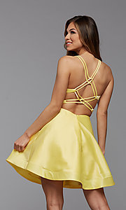 Image of strappy-back short satin homecoming dance dress. Style: PG-THC-21-19 Detail Image 4