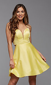 Image of strappy-back short satin homecoming dance dress. Style: PG-THC-21-19 Detail Image 2