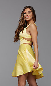 Image of strappy-back short satin homecoming dance dress. Style: PG-THC-21-19 Detail Image 3