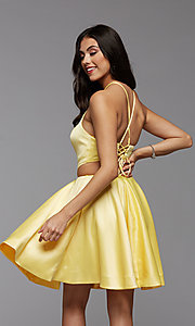 Image of short satin corset-back homecoming party dress. Style: PG-THC-21-20 Detail Image 2