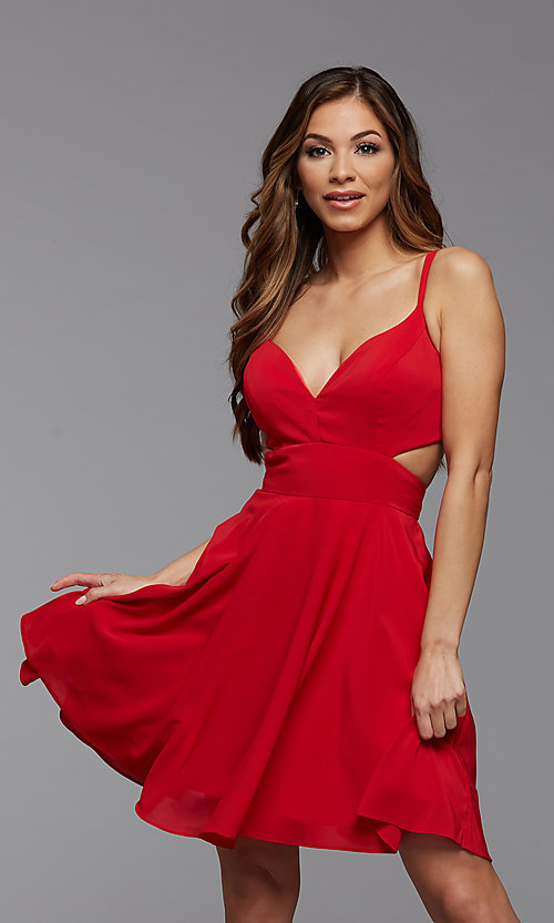 Image of cut-out open-back short homecoming dress. Style: PG-THC-21-21 Detail Image 1
