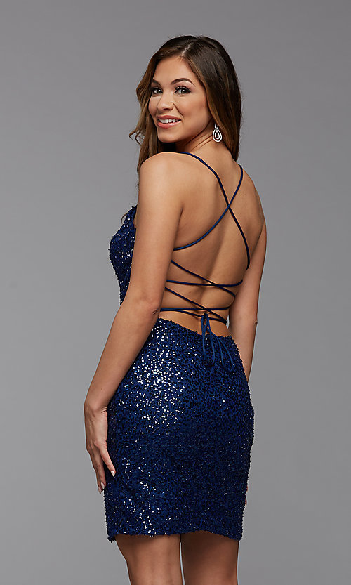 Image of sparkly short tight sequin homecoming dress. Style: PG-THC-21-25 Detail Image 2