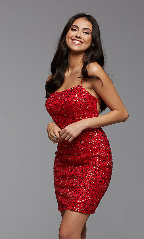 Image of sparkly short tight sequin homecoming dress. Style: PG-THC-21-25 Back Image