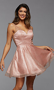 Image of sparkly short homecoming dress in glitter tulle. Style: PG-THC-21-26 Front Image