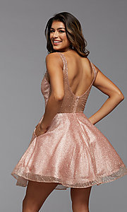 Image of sparkly short homecoming dress in glitter tulle. Style: PG-THC-21-26 Back Image
