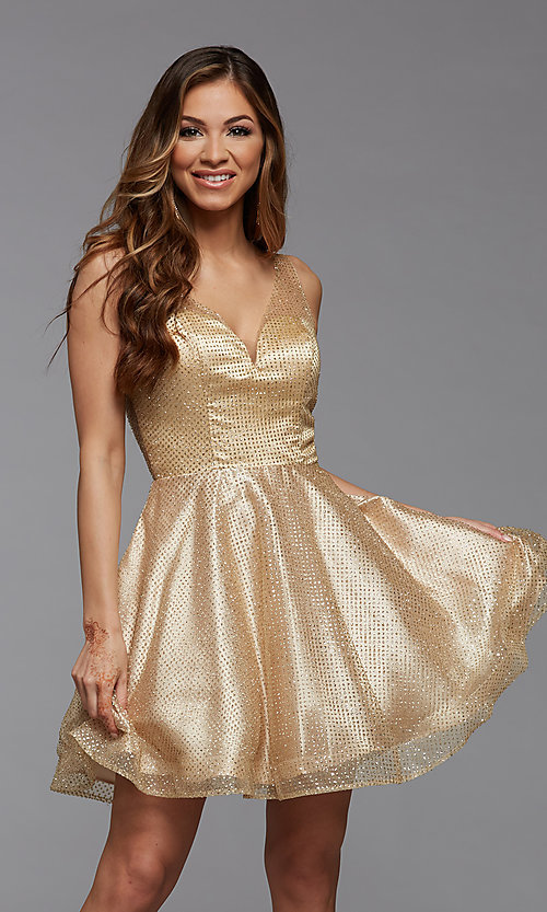 Image of sparkly short homecoming dress in glitter tulle. Style: PG-THC-21-26 Detail Image 1